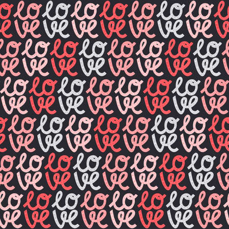 Valentines Day seamless pattern. Love elements and modern lettering on a dark isolated background.