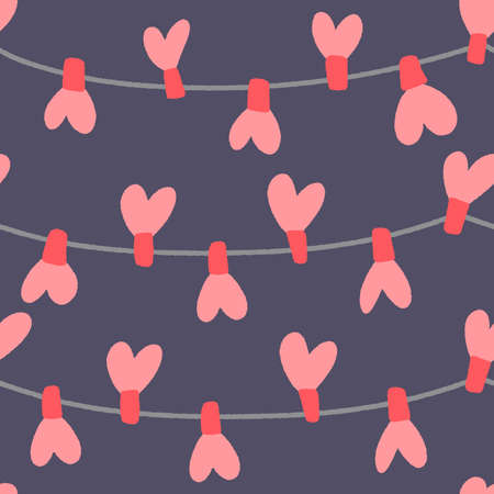 Valentines Day seamless pattern. Flat hand drawn love elements on a dark isolated background. Ilustracja