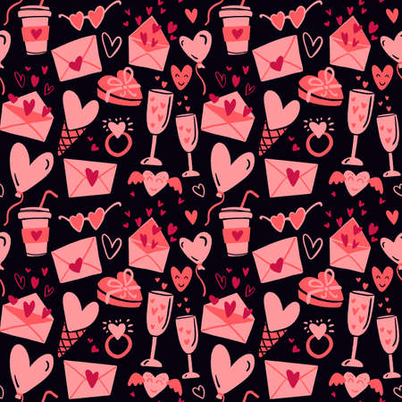Valentines Day seamless pattern. Flat hand drawn love elements on a dark isolated background. 일러스트