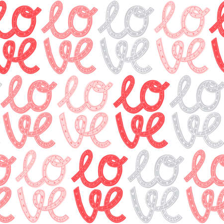 Seamless pattern for Happy Valentines Day celebration with holiday symbols and hand written lettering.
