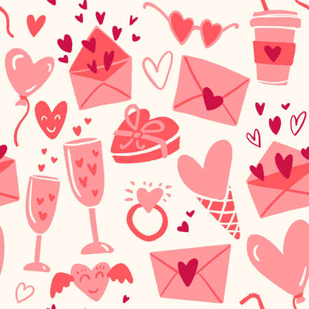Seamless pattern for Happy Valentines Day celebration with holiday symbols. 일러스트