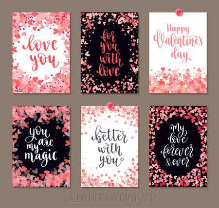 Set Valentines Day greeting cards with lettering and decorative hand drawn love elements. Ilustrace