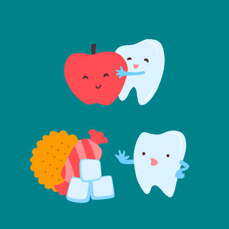 Cartoon tooth character choosing an apple and ignoring candy and sugar.