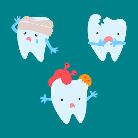 Cute teeth set. Hand drawn cartoon characters with different emotions.