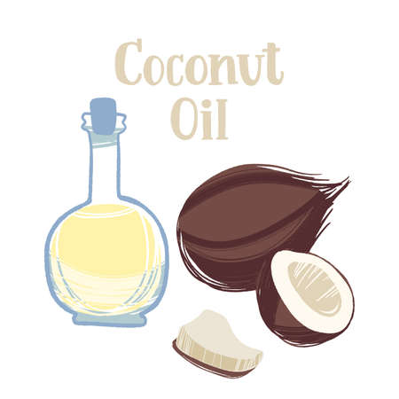 Healthy nutrition product. Coconut oil in a bottle with whole and half nuts.