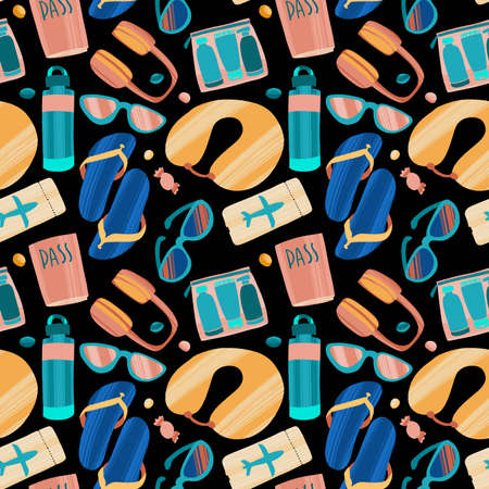 Seamless pattern with hand drawn journey items. Vector Illustration