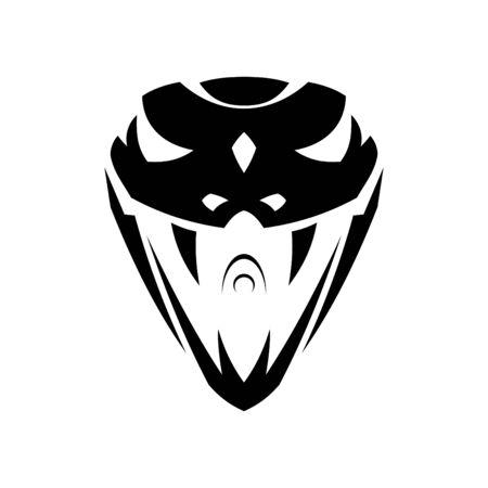 Serpent vipère tête tribal abstrait pour la conception d'éléments isolé sur fond blanc. Serpent tête de vecteur de conception abstraite. Illustration vectorielle