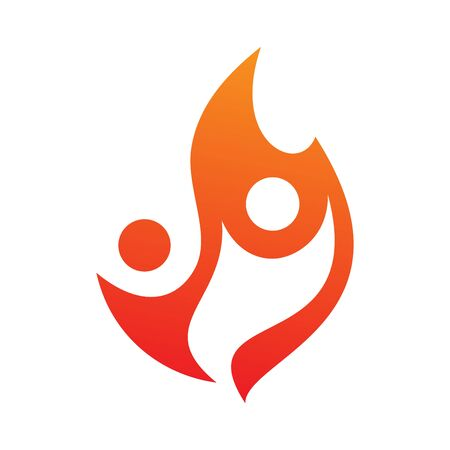 Two people fire vector icon in abstract style on the white background. Fire icon for your best business symbol. Vector illustration