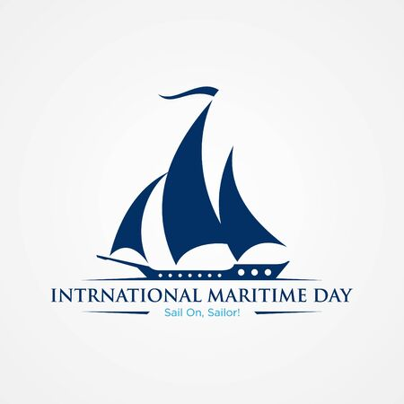 International Maritime Day with sailboat in flat style. Holidays around the world of maritime day. Vector illustration