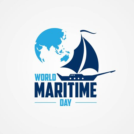 World Maritime Day with world map and sailboat in flat style. Holidays around the world of maritime day. Vector illustration