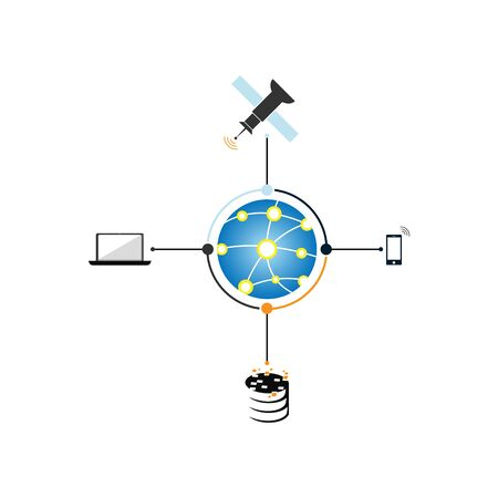 Internet networking wide area network vector icon design illustration with satellite, computer, Mobile phone and database connections Illustration