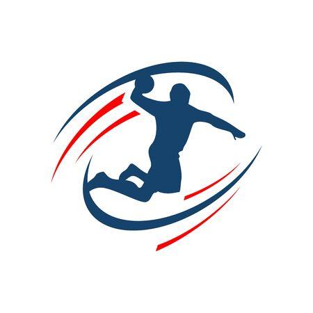 Handball vector sign icon. Abstract colorful silhouette of player Handball icon team template