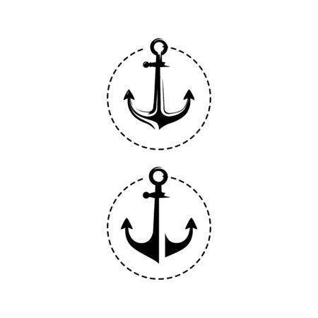 simple black marine anchor icon nautical design vector illustration