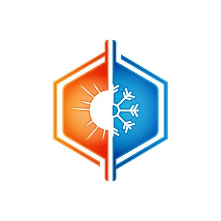Heating and cooling icon. Abstract heating and cooling hvac icon design vector image Vettoriali