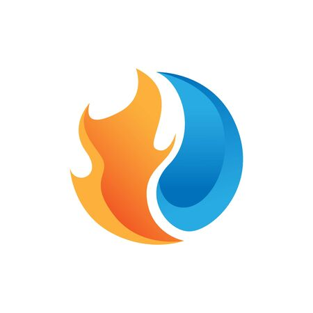 Heating and cooling icon. Abstract heating and cooling hvac icon design vector image