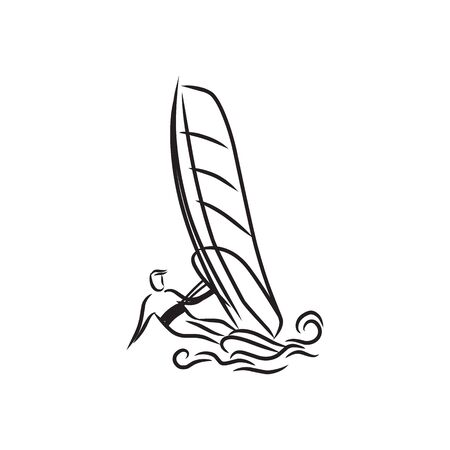 Windsurfing and windsurfer on waves, Hand drawn sketch, Extreme and water beach sports, vector design.