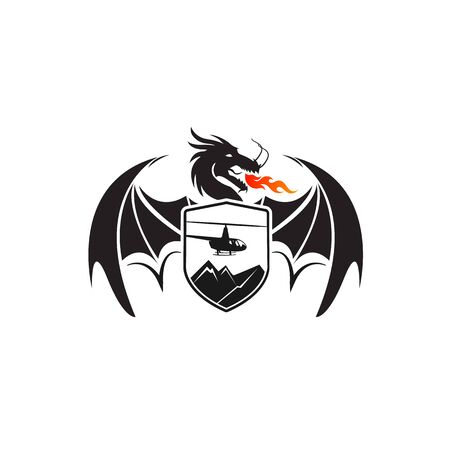 dragon and helicopters in shield, retro vector illustration Vecteurs