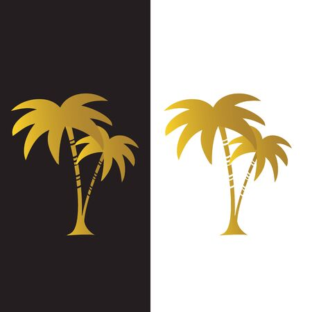 Beach Palm Tree Royal Golden in white and black background