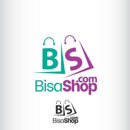 Abstract letter B S on shopping bag. Abstract shopping logo. Online shop logo. Illusztráció