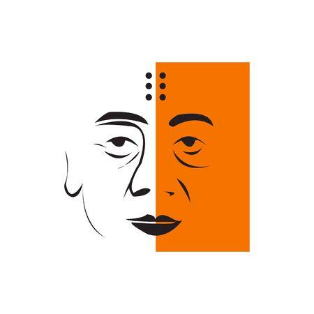 creative Monk face, line art vector design