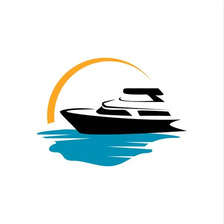sailing yacht ship boat icon design vector on the water ocean wave