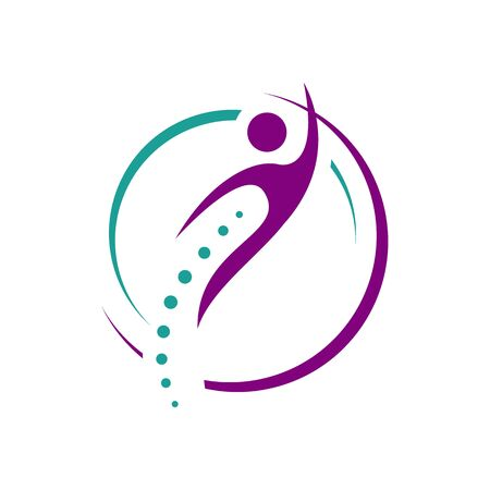 chiropractic physiotherapy icon design. creative human spinal health care medical template