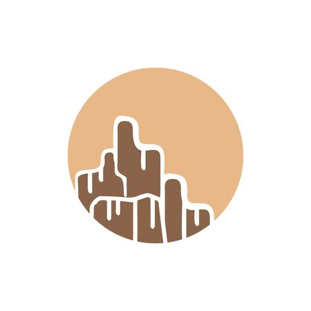 flat silhouette of rocky mountain grand canyon icon design vector illustration Vectores