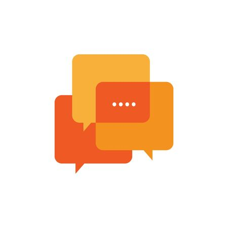 stylish overlapping square shape of speech bubble chat graphic vector icon design