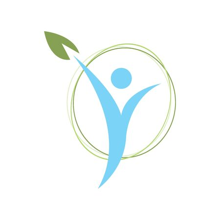 wellness icon design vector illustration. health care green leaf symbol sign isolated