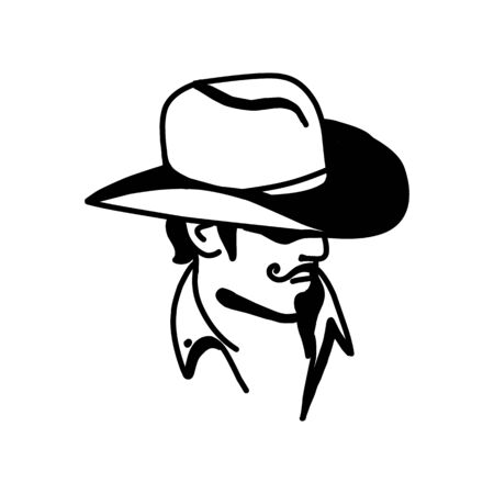 icon template with the image of the man in hat. Cowboy. Sheriff. Mascot.