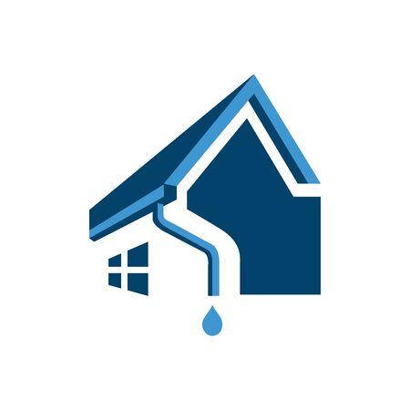 Hausdach Dachrinne Icon-Design. Vektorgrafiken für die Installation von Hausrohren Vektorgrafik