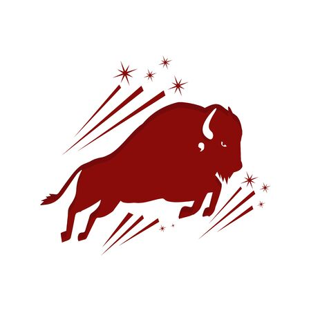 shilhoutte of bull buffalo icon design. simple bison vector icon illustrations