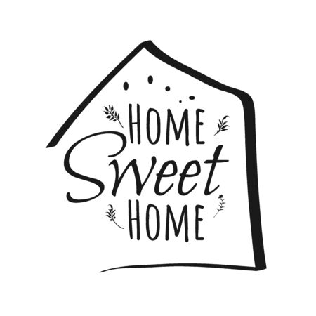 Home Sweet Home sign on white background. flat style. Home Decor sign for your web site design,  app, UI. Sweet Home symbol. Sweet Home laurel wreath sign.