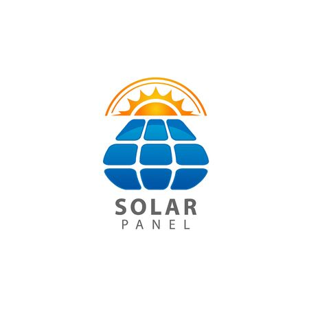 Solar panel logo isolated on white background. Solar panel icon simple sign. Solar panel icon trendy and modern symbol for graphic and web design. Solar panel icon flat vector illustration for logo Vettoriali