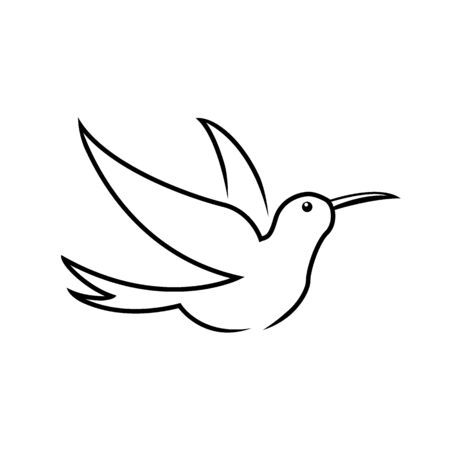 Stylized hummingbird icon in different styles: line art, solid black and color. Isolated colibri symbol vector illustration. Vecteurs