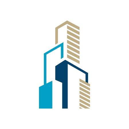 Modern Colorful Realty Skyline Building icon design graphic style. Cityscape design skyscraper corporation of buildings icon for Real estate company