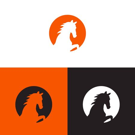 Negative Space of Horse head inside a set circle icon Template