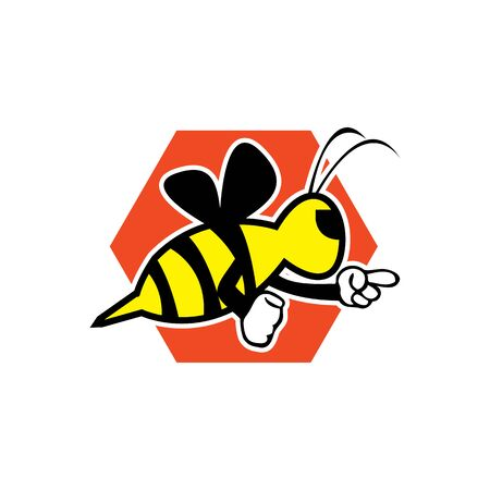 cute honey bee mascot character vector icon design template inspiration. 向量圖像