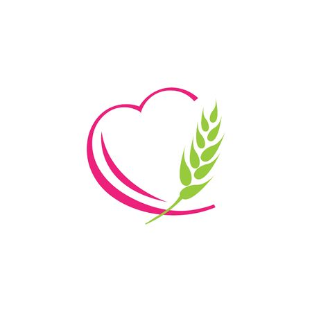 heart wheat barley paddy harvest agriculture, design healthy food template inspiration.  イラスト・ベクター素材