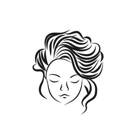 Girl face icon design vector template