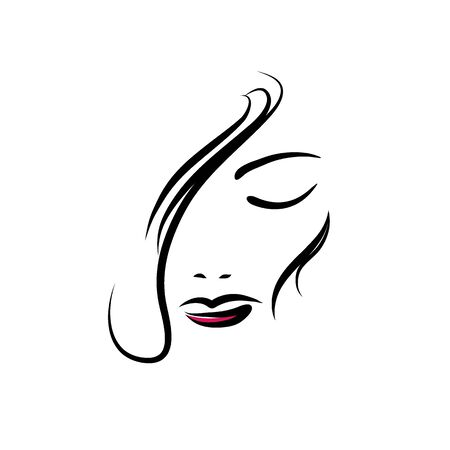 Girl face icon design vector template