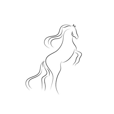 Continuous one line drawing. Horse Black and white vector illustration. Concept for card, banner, poster, flyer