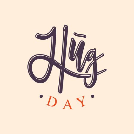 Vector typographic letter Hug Day with abstract hand illustration design. Hug Day vector concept design for element design. Illustration