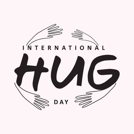 Vector typographic letter Hug Day with abstract hand illustration design. Hug Day vector concept design for element design. Vettoriali