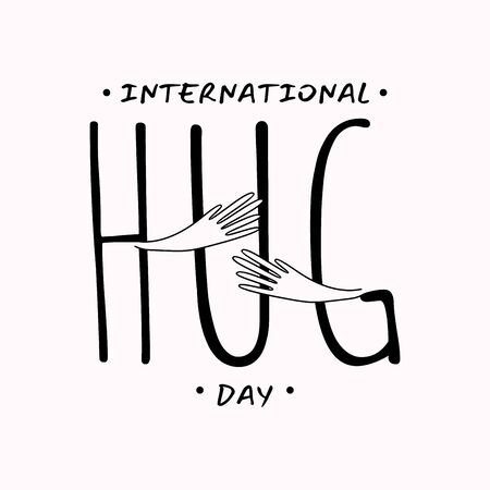 Vector typographic letter Hug Day with abstract hand illustration design. Hug Day vector cencept design for element design. Vector illustration Vettoriali