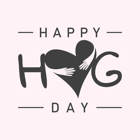 Vector typographic letter Hug Day with abstract hand illustration design. Hug Day vector cencept design for element design. Vector illustration Illustration