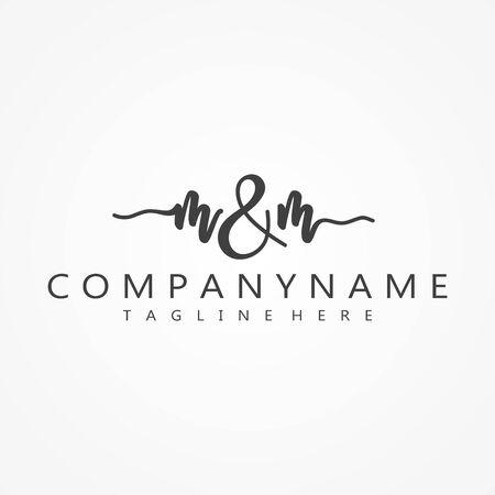 M & M Initial handwriting symbol design concept. Letter symbol design for best business symbol.