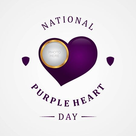 Luxury design purple heart appreciation day background. Luxury heart vector symbol purple heart day. Vector illustration