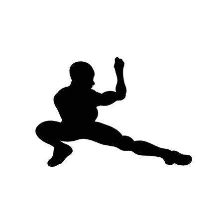 Vector silhouettes of sportive man stretching and worming up, workout it progress. Fitness boy icons isolated on white background.  イラスト・ベクター素材