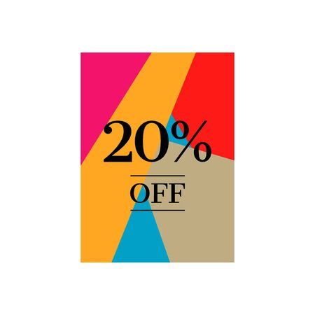 20% off Sale 20 percent Discount Special Price Offer Marketing Promotional Poster Design Vector Illustration